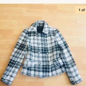 Zara Checkered Jacket Size 6 black white